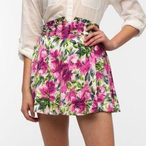 Reverse Floral Studded Mini Skater Skirt